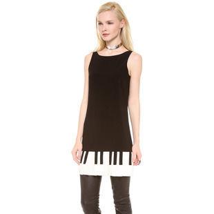 海外インポートセレクトブラック×ホワイトピアノプリーツワンピースドレス