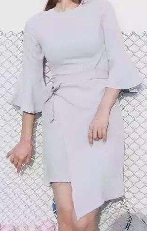 海外 インポート アイス グレー フレア スリーブ デザイン ワンピース ドレス