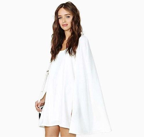 海外インポートホワイトポンチョ風ワンピースドレス白色