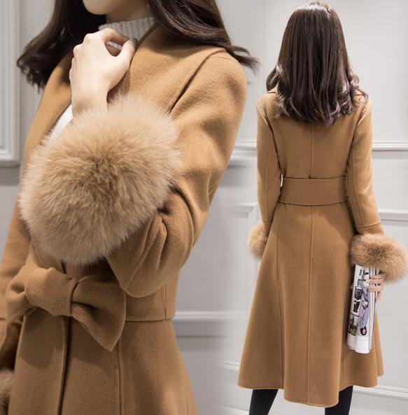 海外 インポート キャメル 裾 ファー 腰ひも 付き ウール 混 フレアー ドレス コート