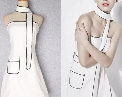 海外 インポート ホワイト ブラック パイピング デザイン ストール タイ 付 ベア ワンピース ドレス 白