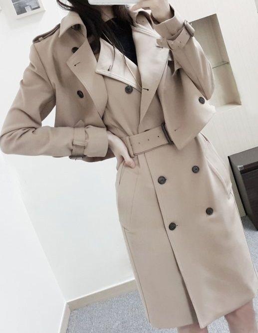 海外 インポート ベージュ トレンチ ジャケット コート ワンピース ベルト 付 セットアップ