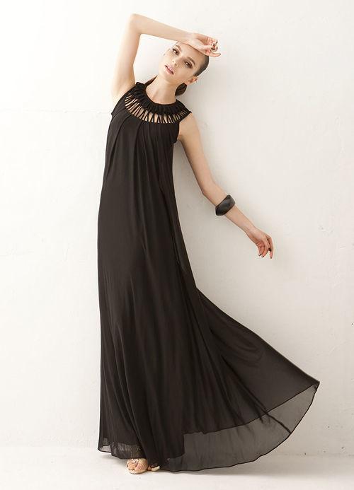 海外インポートブラックカッティングデザインマキシワンピースドレス黒