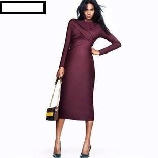 海外インポートセレクトパープルドレープデザイン膝丈ミディーワンピースドレス紫