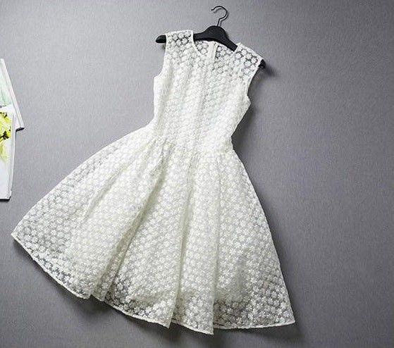 海外インポートセレクトホワイトフラワーシースルーデザインワンピースドレス白色花柄