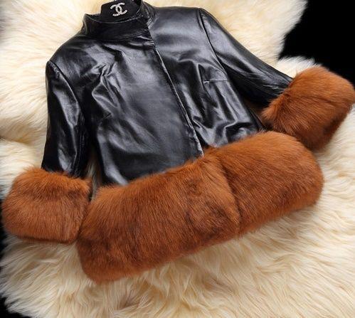 海外 インポート セレクト ブラック レザー 風 ブラウン ボリューム 裾 ファー 付 ジャケット ドレス コート 黒