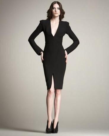 海外インポートセレクトブラックコンサバ膝丈タイトワンピースドレス黒長袖