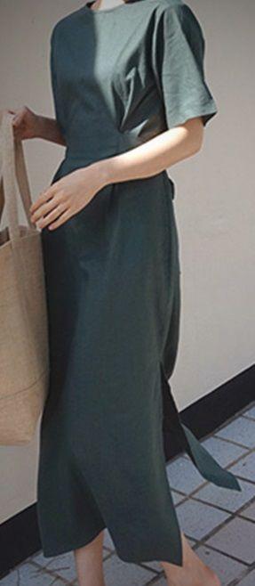 レディース 海外 インポート グリーン カーキ コットン 腰ひも 付き マキシ ワンピース ドレス ロング 丈