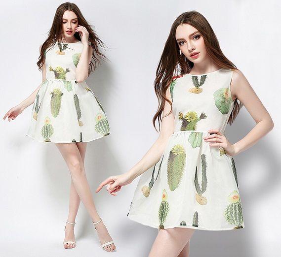 海外インポートセレクトホワイトグリーンデザインフレアーワンピースドレス白緑色