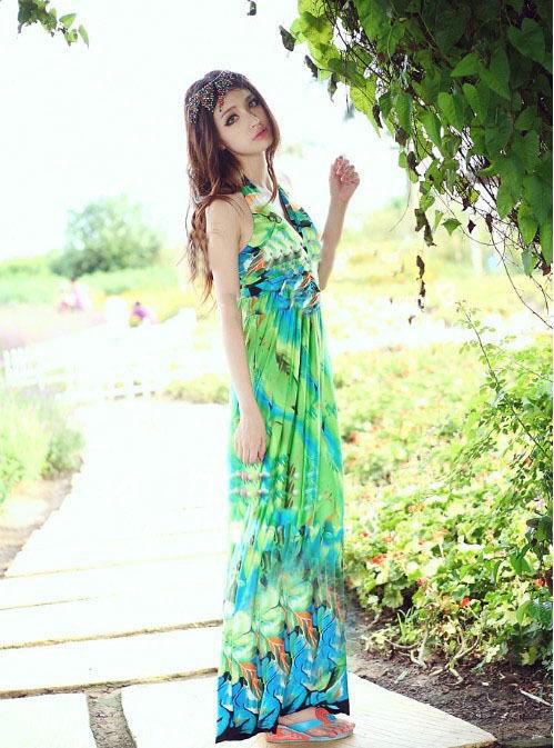 海外 インポート セレクト グリーン フラワー マキシ ワンピース パーティー ドレス ロング 緑