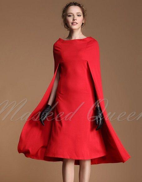 海外インポートレッドポンチョデザインワンピースドレスミモレミディ丈赤色