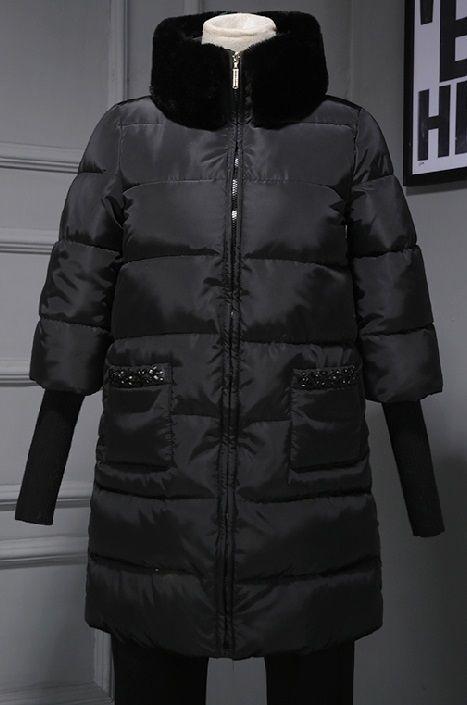 海外 インポート ブラック ラビット ファー ビジュー ラインストーン 付き ダウン ジャケット コート