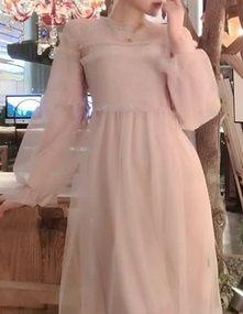海外 インポート ピンク ベージュ シースルー ミモレ 膝下 丈 ワンピース ドレス ロング 長袖