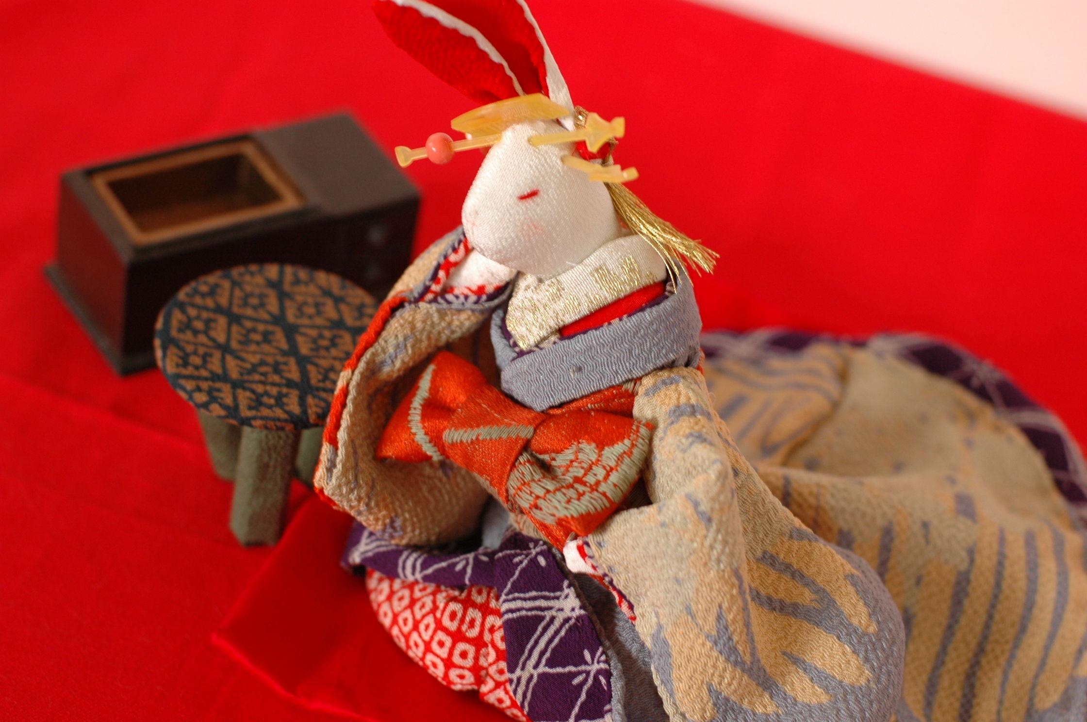 ちりめんウサギ ハンドメイドの一点もの 吉原花魁シリーズ1