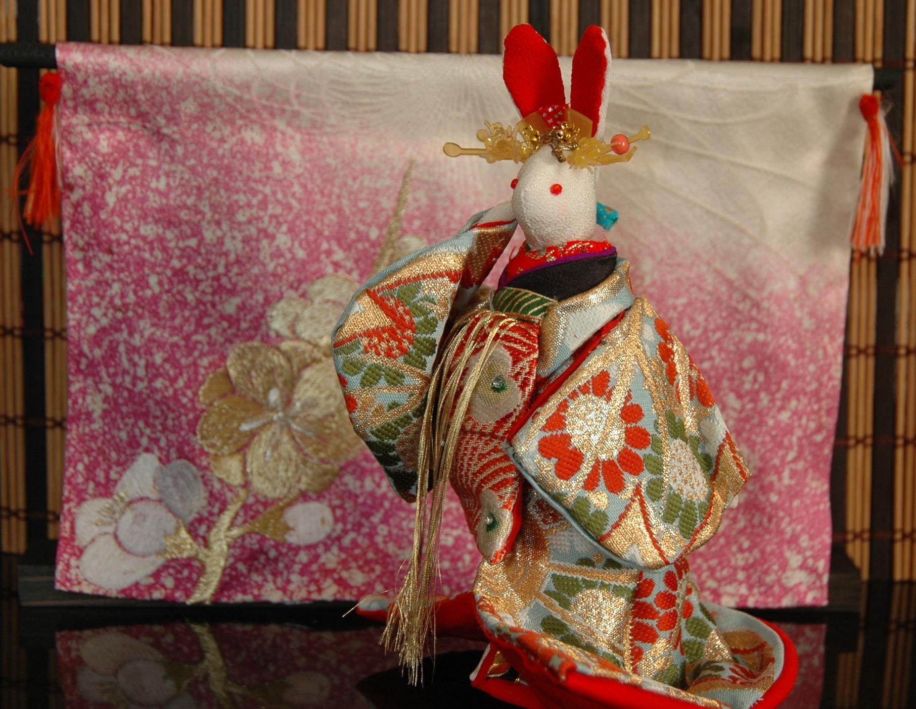 ちりめんウサギ ハンドメイドの一点もの 吉原花魁シリーズ2