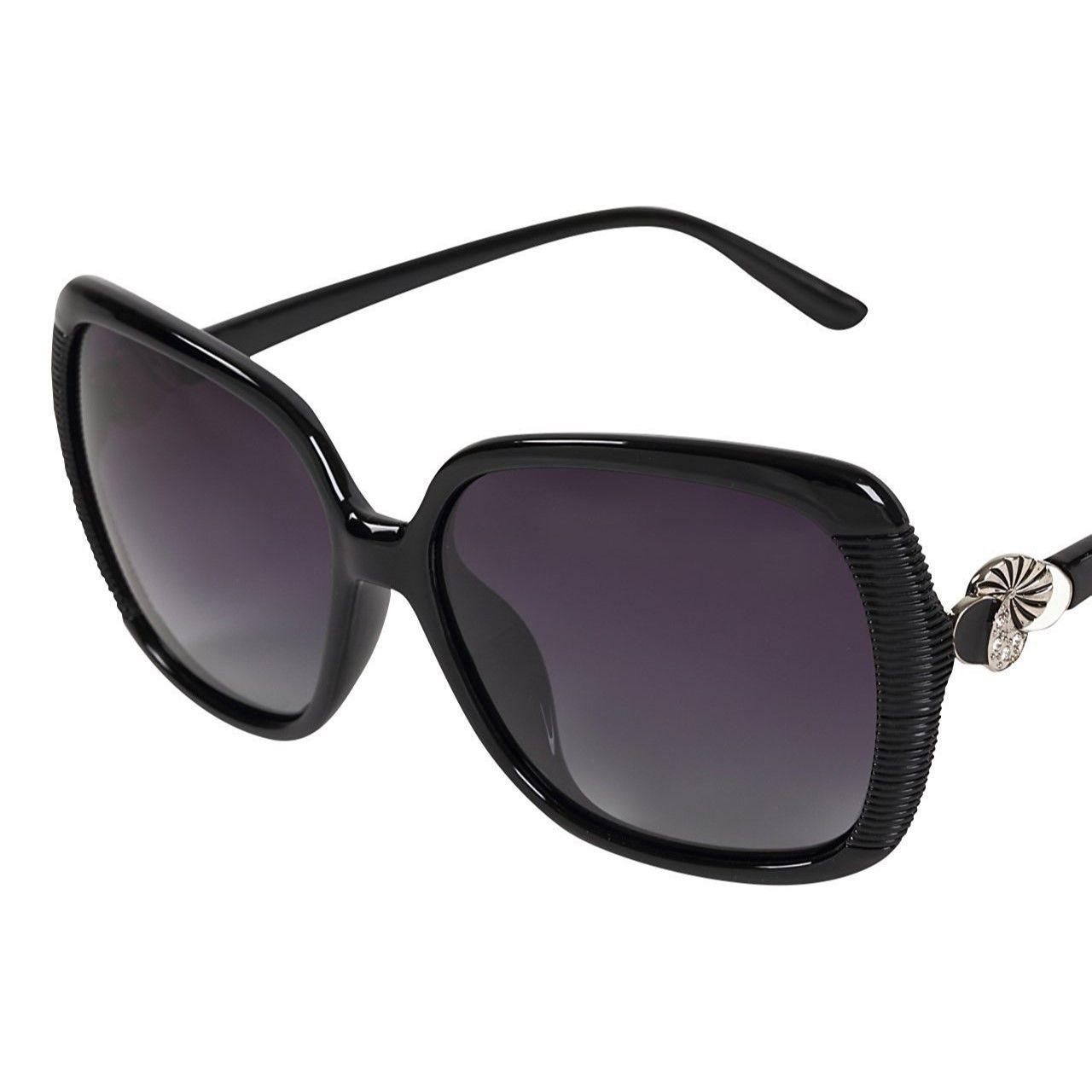 レディース サングラス バタフライ UV400 紫外線 カット率99.9 % UVカット 偏光レンズ (6ブラック)