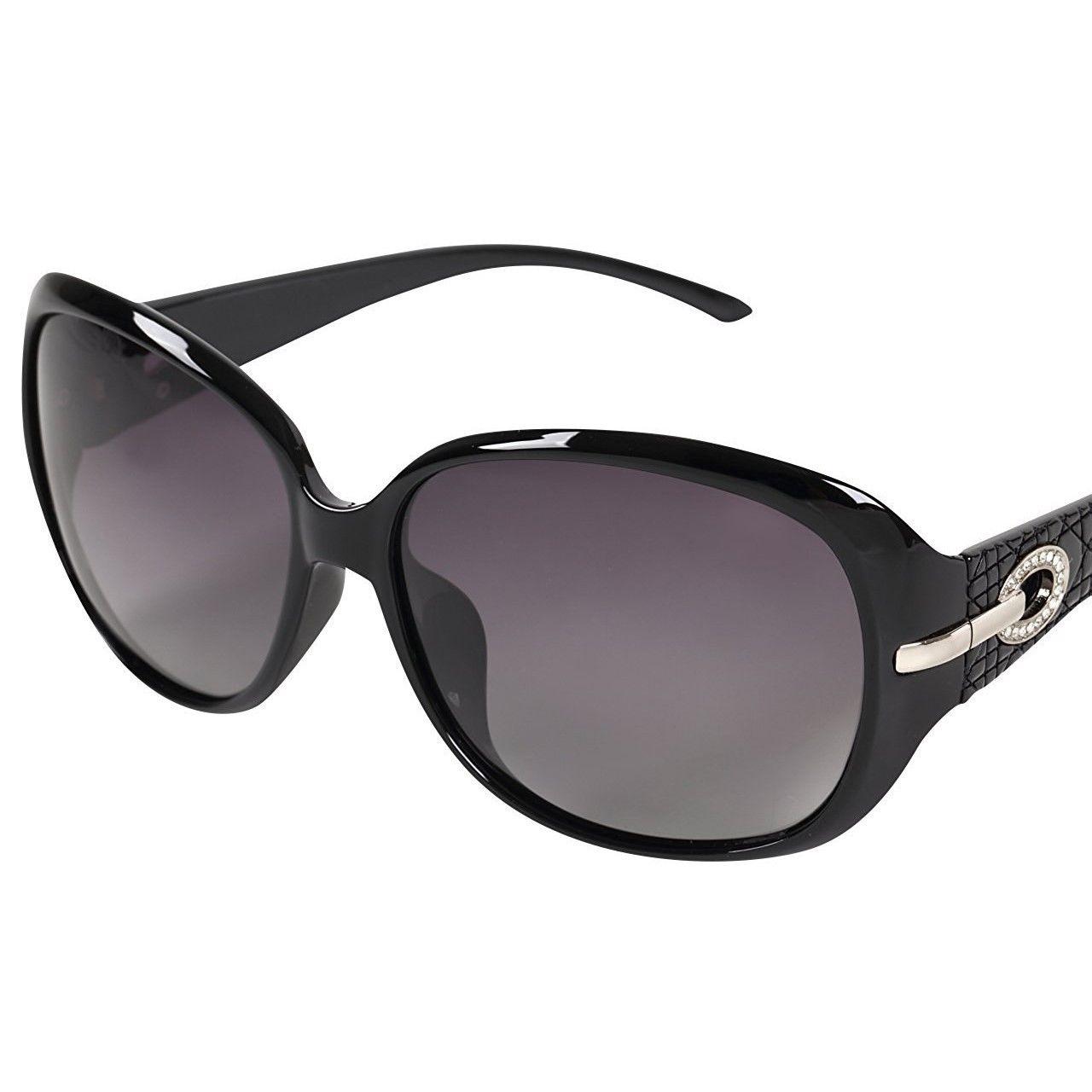 レディース サングラス バタフライ UV400 紫外線 カット率99.9 % UVカット 偏光レンズ (7ブラック)