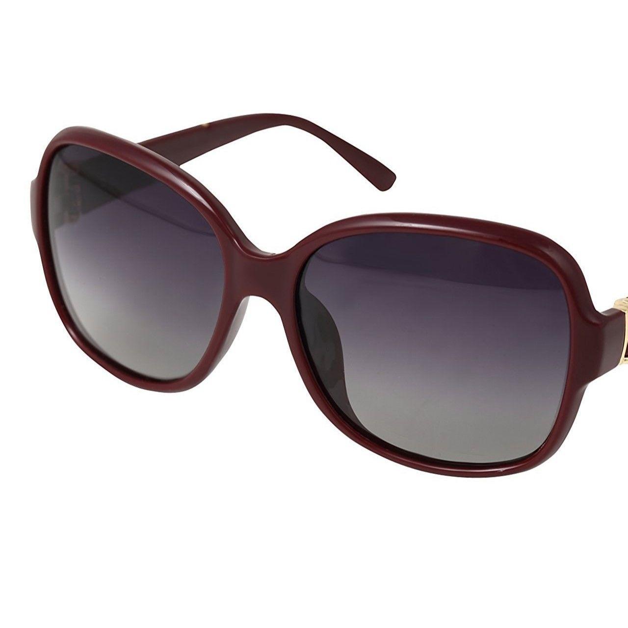 レディース サングラス バタフライ UV400 紫外線 カット率99.9 % UVカット 偏光レンズ (4ワインレッド)