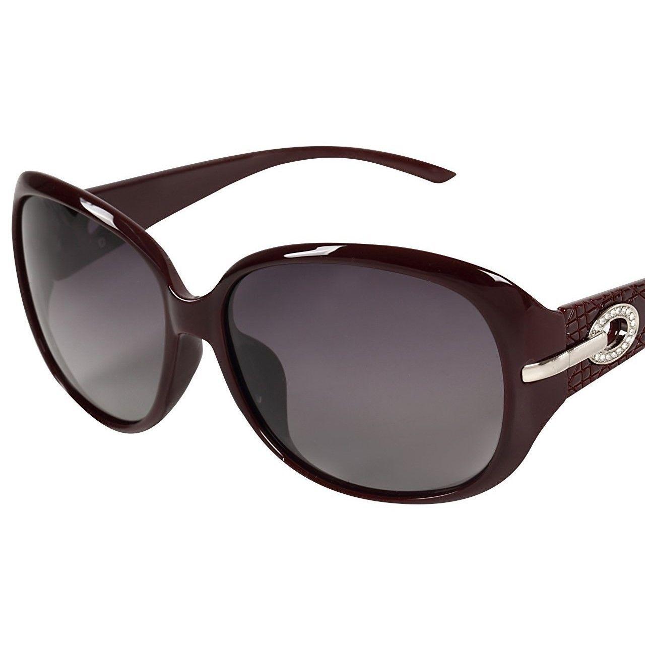 レディース サングラス バタフライ UV400 紫外線 カット率99.9 % UVカット 偏光レンズ (7ワインレッド)