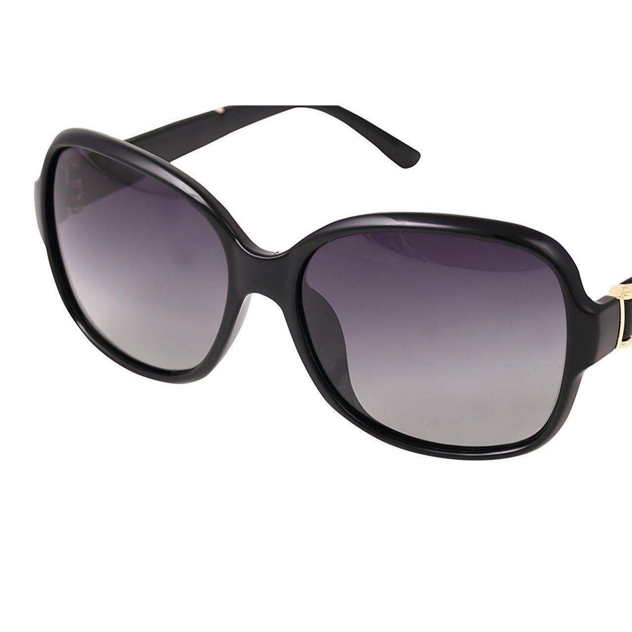 レディース サングラス バタフライ UV400 紫外線 カット率99.9 % UVカット 偏光レンズ (4ブラック)
