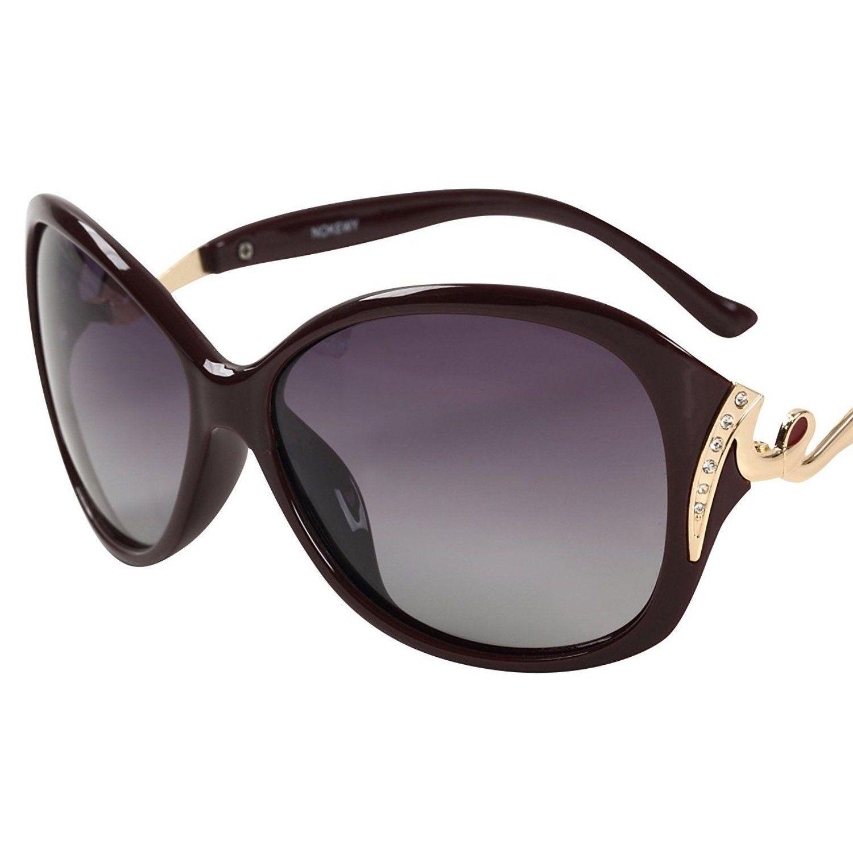 レディース サングラス バタフライ UV400 紫外線 カット率99.9 % UVカット 偏光レンズ (5ワインレッド)