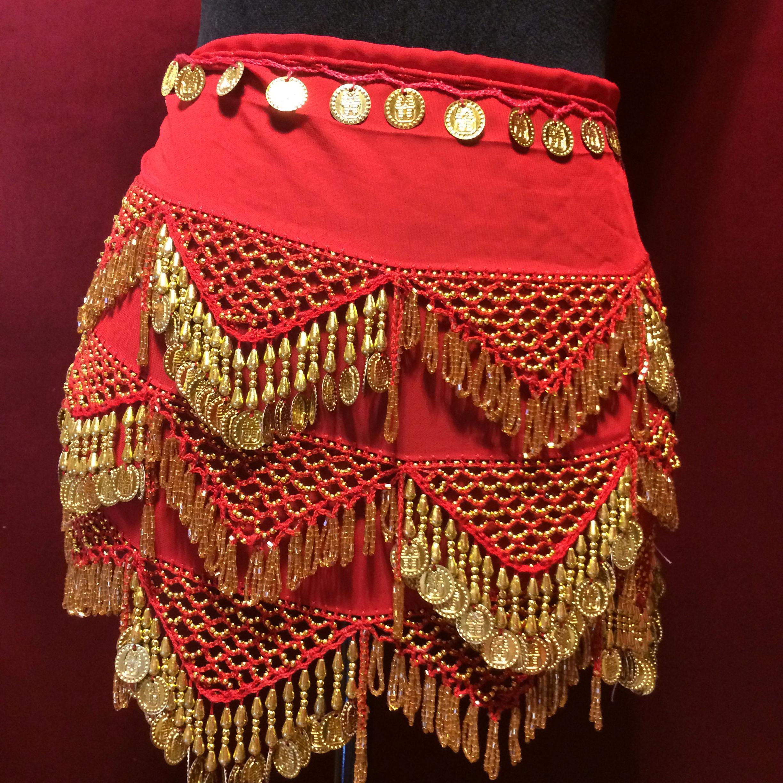 エジプト雑貨 ベリーダンス 衣装 | 手作り ヒップスカーフ レッド ゴールド コイン/レディース