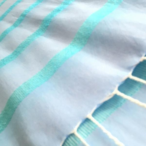 エジプト綿 & シルク 手織り大判ストール【シルクライン柄 アクアブルー レディース】