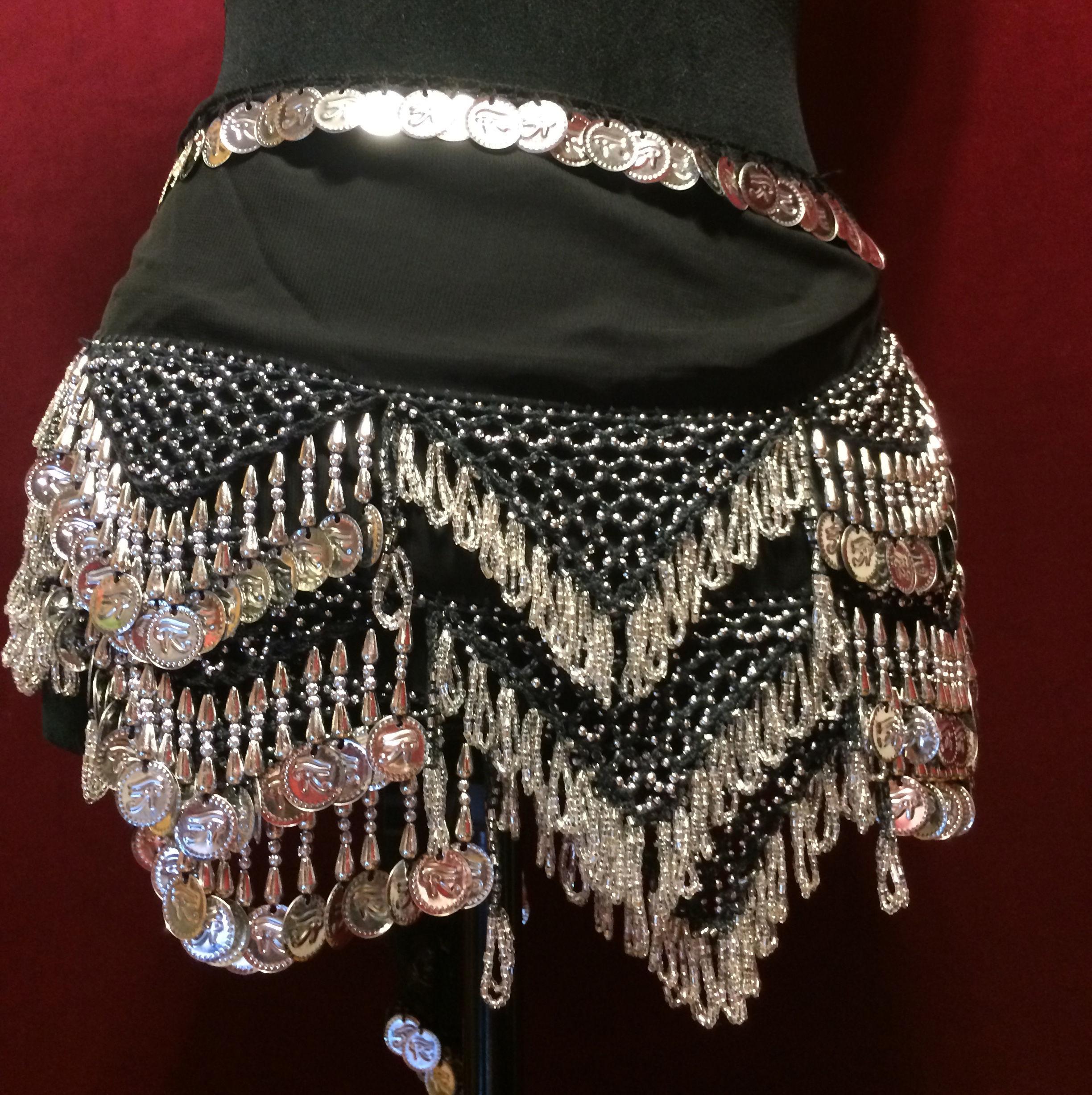 エジプト雑貨 ベリーダンス 衣装 | 手作り ヒップスカーフ ブラック シルバー コイン/レディース