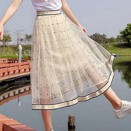 チュール重ね ロングスカート
