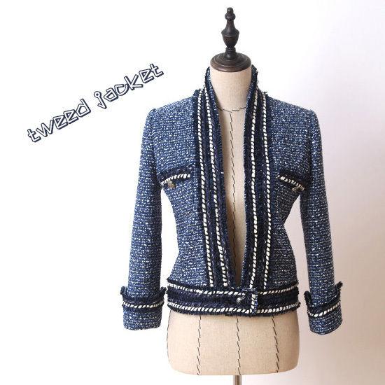 さわやかブルーラインジャケット★ツイード スタンドカラー ボタンポイント オフィスカジュアル 大きめサイズ