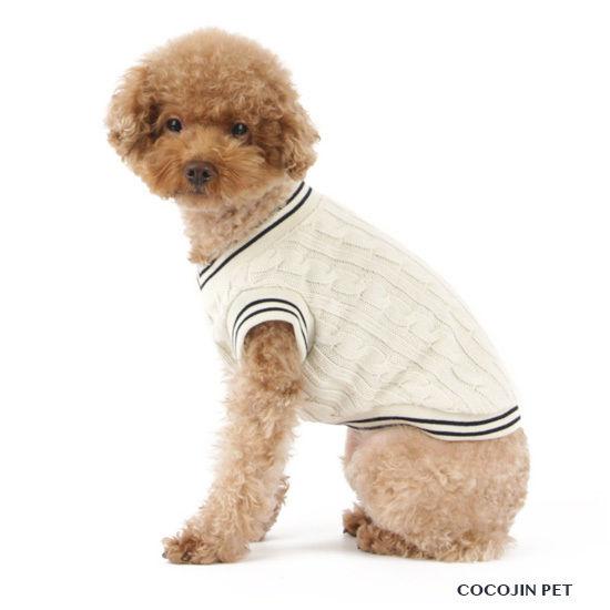 お洒落にプレッピースタイル♪ニットベスト チョッキ 犬の服 ドッグウェア(アイボリー)