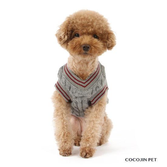 お洒落にプレッピースタイル♪ニットベスト チョッキ 犬の服 ドッグウェア(グレー)