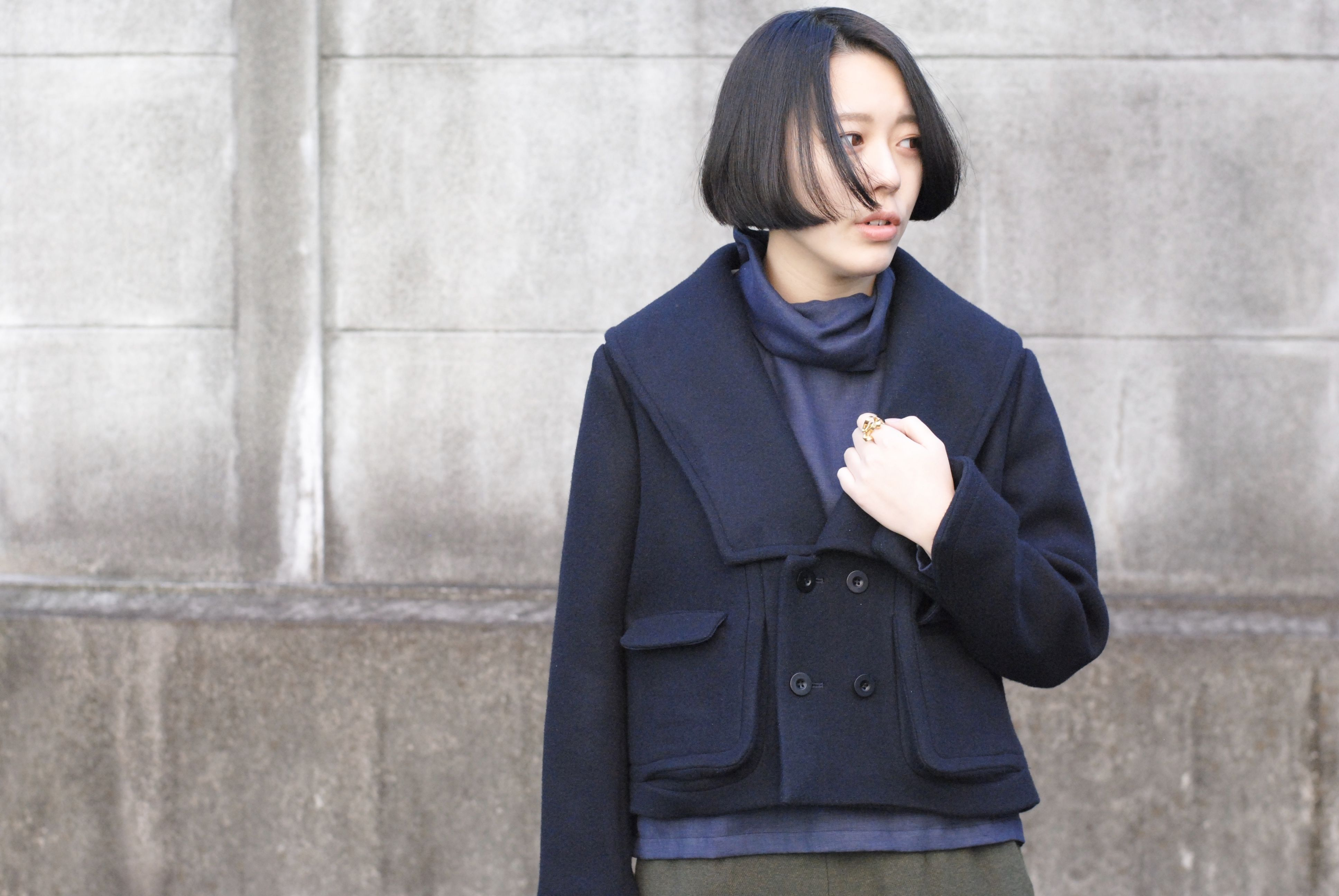 ASEEDONCLOUD/ladies blazer double face soft melton(navy)