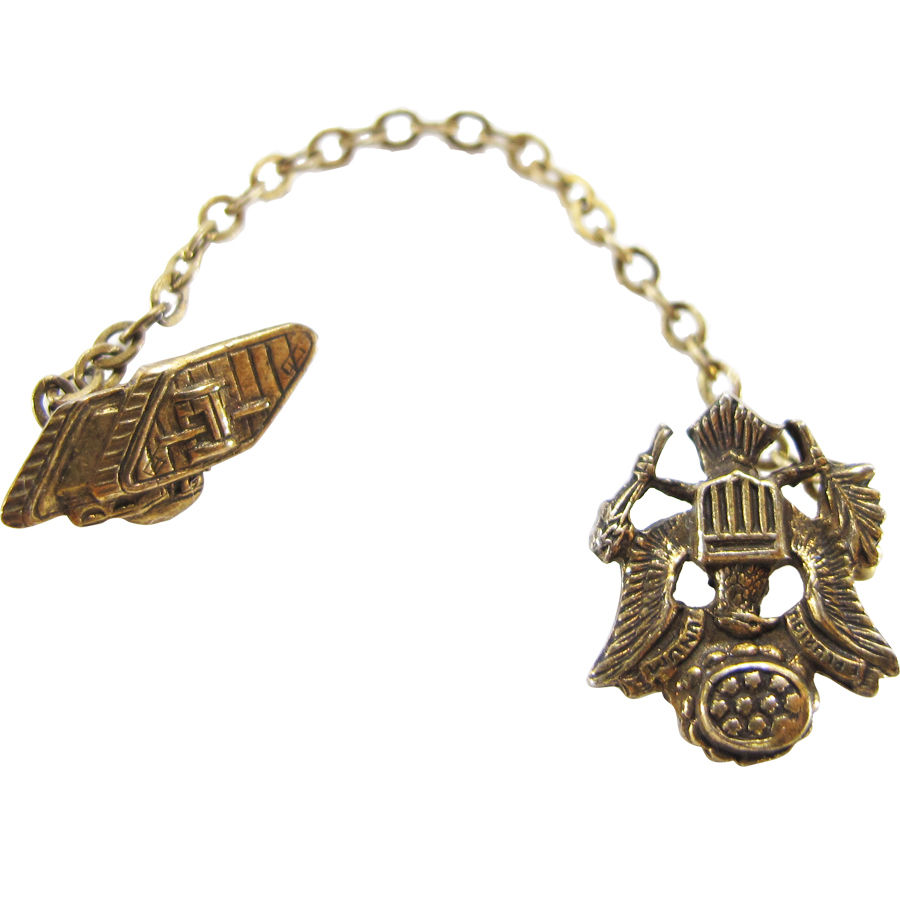 40s VINTAGE US ARMY EAGLE CHAIN LAPEL PIN
