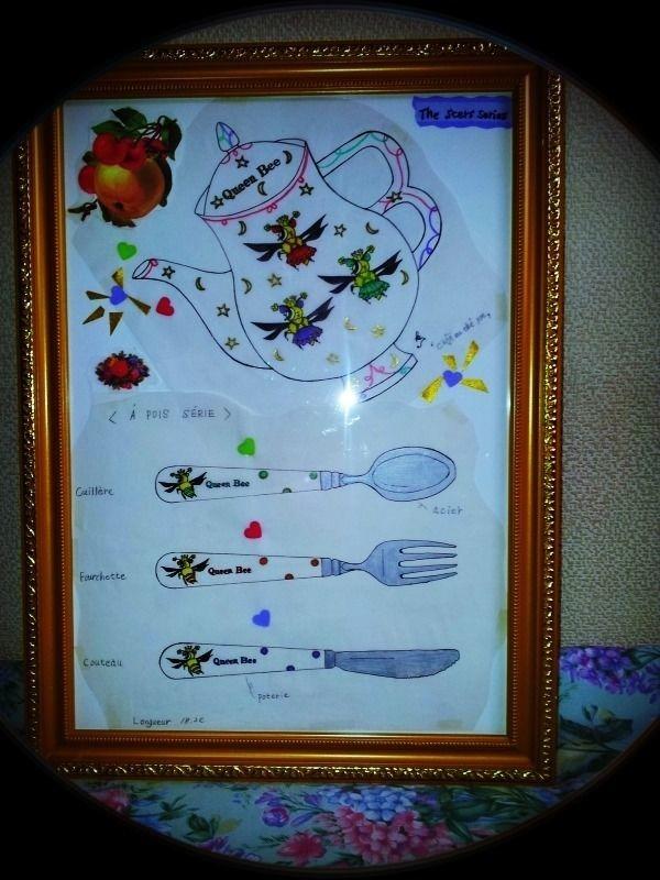 ミツバチのヒーリング絵画(洋食器デザイン)