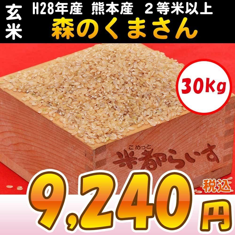 【玄米】H28年産 熊本産 森のくまさん 2等米以上 30kg