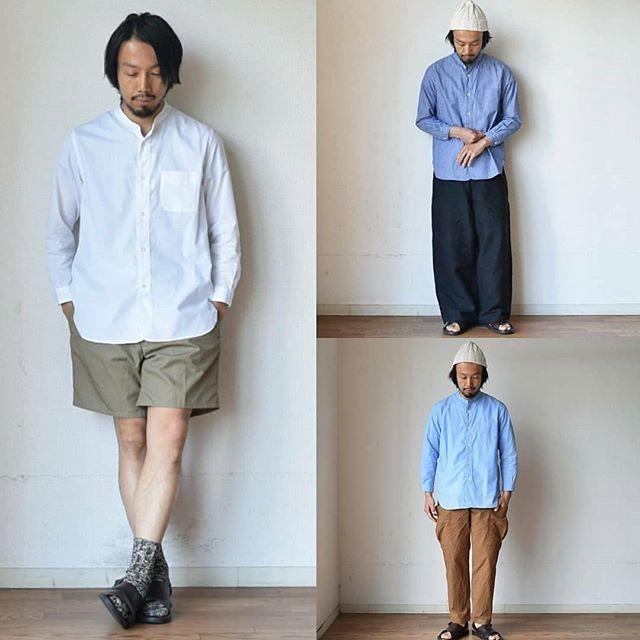【8分袖のバンドカラーシャツ】STILL BY HAND  スティルバイハンド  コットンリネン バンドカラーシャツ ホワイト/サックス/ストライプ
