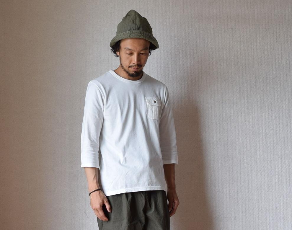 Re made in tokyo japan THREE QUARTER SLEEVE POCKE TEE WHT 七分袖ポケットTシャツ ホワイト