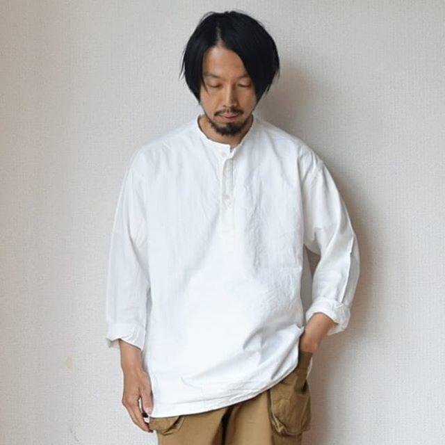 【ノーカラー&プルオーバー】DEADSTOCK デッドストック ロシア軍スリーピングシャツ ホワイト