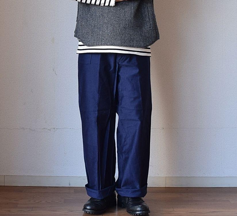 【マリンブルーのモールスキン】DEADSTOCK ITARIAN NAVY MARINE PANTS デッドストック 70年代イタリア海軍 マリンパンツ