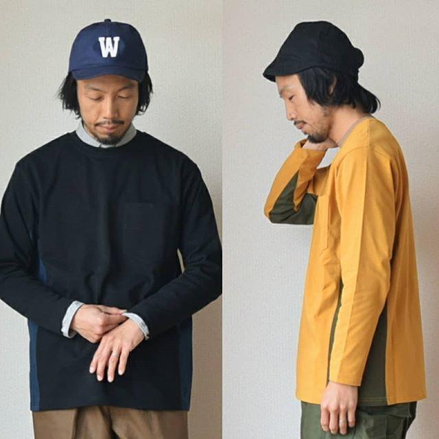 """【1枚で主役になるロンT】weac """"SONORITE""""パッチワーク ロングTシャツ ブラック/イエロー"""