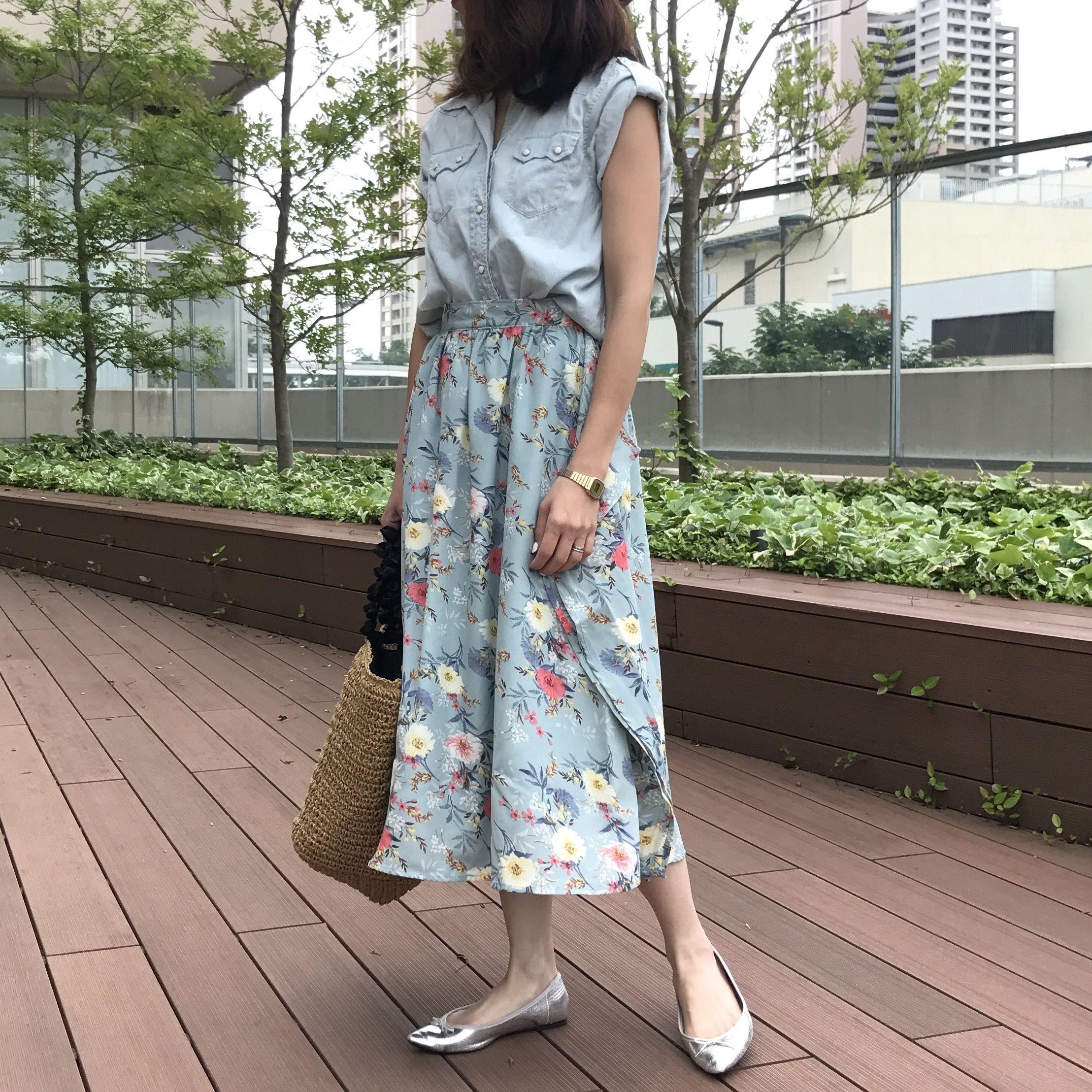 大人気シリーズ!!花柄サイドフリルスカート(4color)【クリックポスト対象商品】