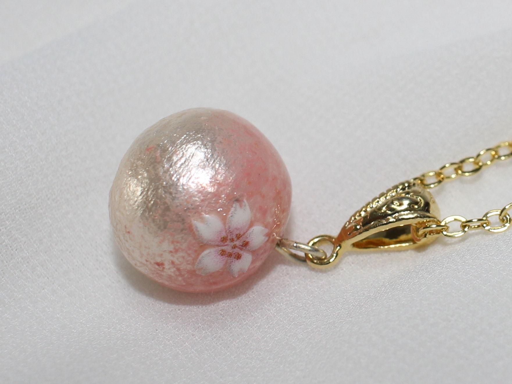 桜コットンパールの一粒ネックレス