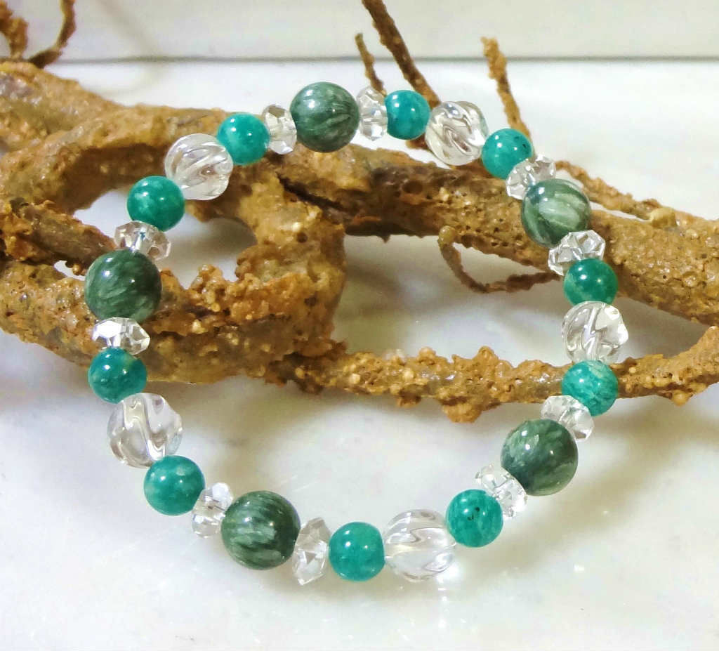 天然石 パワーストーン ブレスレット セラフィナイト ロシアン アマゾナイト 水晶 424