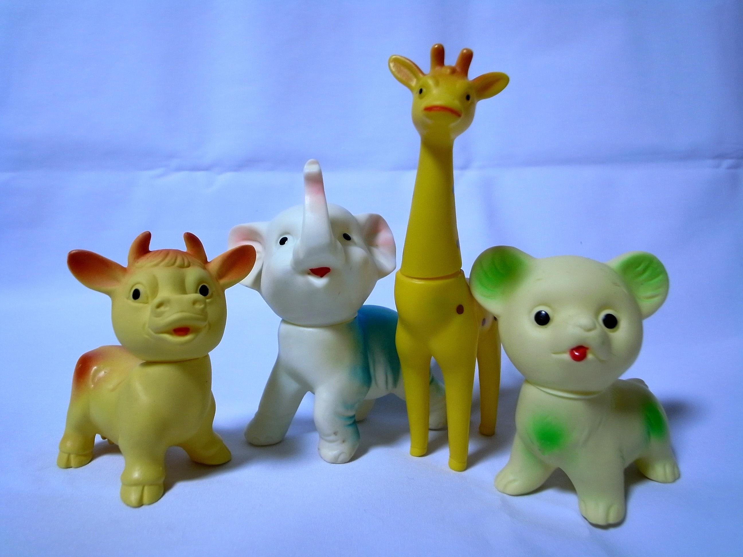 昭和レトロ玩具 軟性動物ソフビ4種セット
