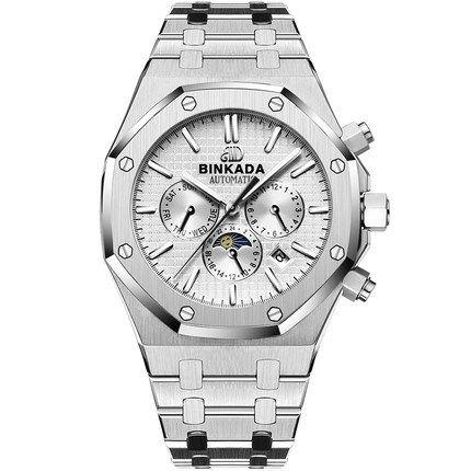 メンズ腕時計 BINKADA正規品 海外高級ブランド 人気 2016モデル 機械式腕時計 クロノグラフ コンプリートカレンダー機能 サファイアガラス 防水 自動巻き