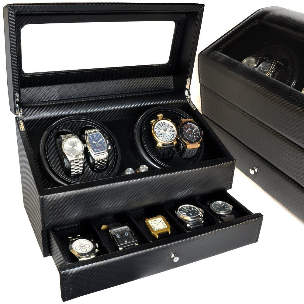 高級ワインディングマシーン 4本巻き+時計収納ボックス 自動巻き時計の指定席 回転台座 上質 シック 見せる収納 スポーツウォッチ 高級時計 ブランド時計 にも