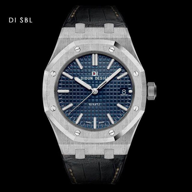 DIDUN DESIGN メンズ腕時計 クォーツ レザーバンド アナログ3針 日本製ムーブメント 防水サファイアガラス  SV 海外人気ブランド 日本未発売モデル