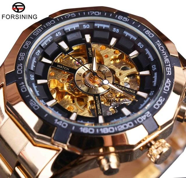 Forsining メンズ腕時計 自動巻き 機械式腕時計 レーシングシリーズ スケルトン ステンレス スポーツウォッチ
