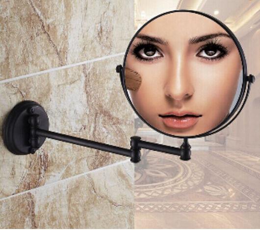 バスミラー 可動式 スイングミラー 折りたたみみ アームミラー アンティーク風 黒 ブロンズ 鏡 おしゃれ 両面 壁掛け ウォールミラー